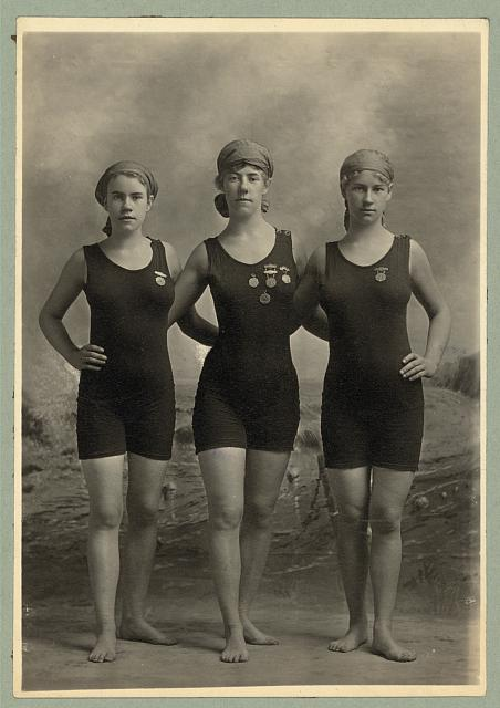 Bain Collection - Library of Congress Young women swimmers with competition medals circa 1920